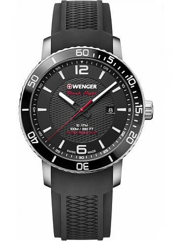 01.1841.102, Wenger, Roadster Black Night, 45mm, Black Dial, Silicone Strap