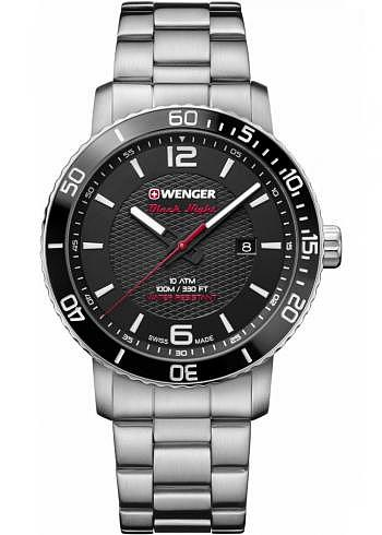 01.1841.104, Wenger, Roadster Black Night, 45mm, Black Dial, Stainless Steel Bracelet