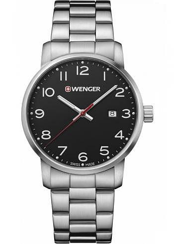 01.1641.102, Wenger, Avenue 42mm, Black Dial, Stainless Steel Bracelet