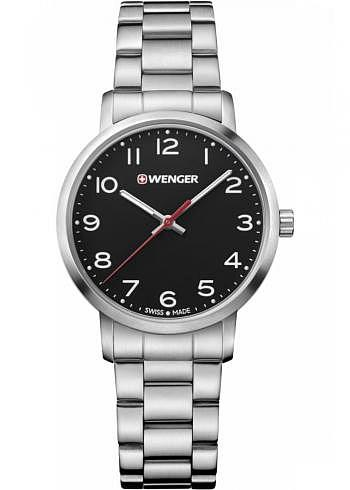 01.1621.102, Wenger, Avenue Ladies Size 35mm, Black Dial, Stainless Steel Bracelet