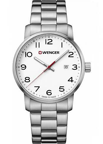 01.1641.104, Wenger, Avenue 42mm, White Dial, Stainless Steel Bracelet