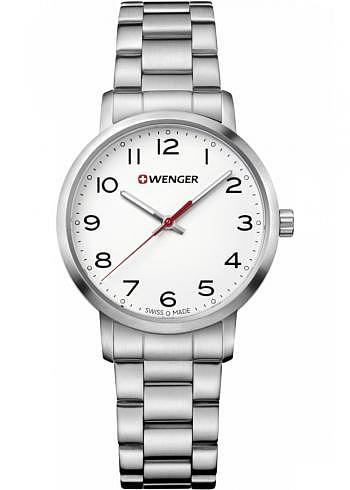 01.1621.104, Wenger, Avenue Ladies Size 35mm, White Dial, Stainless Steel Bracelet