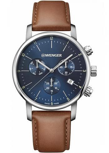 01.1743.104, Wenger, Urban Classic Chrono 44mm, Blue Dial, Leather Strap