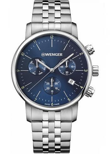 01.1743.105, Wenger, Urban Classic Chrono 44mm, Blue Dial, Stainless Steel Bracelet
