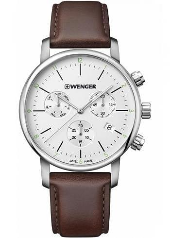 01.1743.101, Wenger, Urban Classic Chrono 44mm, Silver Dial, Leather Strap