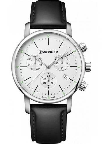 01.1743.106, Wenger, Urban Classic Chrono 44mm, Silver Dial, Stainless Steel Bracelet