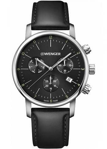 01.1743.102, Wenger, Urban Classic Chrono 44mm, Black Dial, Leather Strap