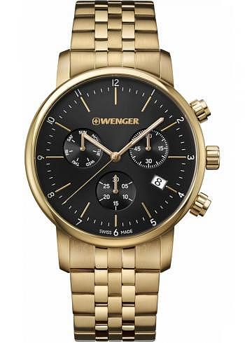 01.1743.103, Wenger, Urban Classic Chrono 44mm, PVD Gold, Black Dial, Stainless Steel Bracelet