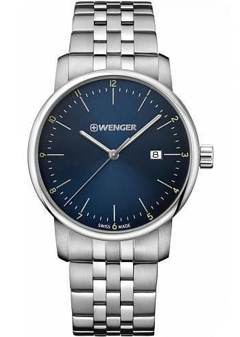 01.1741.123, Wenger, Urban Classic 42mm, Blue Dial, Stainless Steel Bracelet