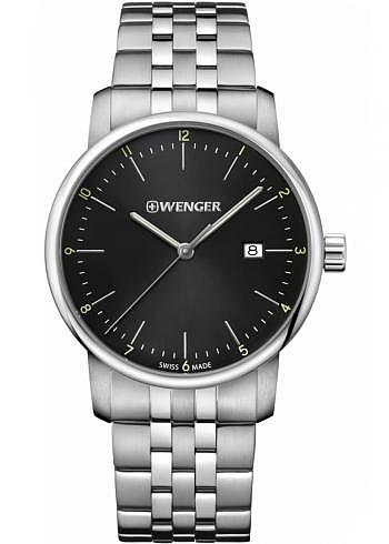 01.1741.122, Wenger, Urban Classic 42mm, Black Dial, Stainless Steel Bracelet