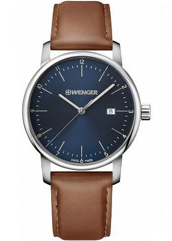 01.1741.111, Wenger, Urban Classic 42mm, Blue Dial, Leather Strap