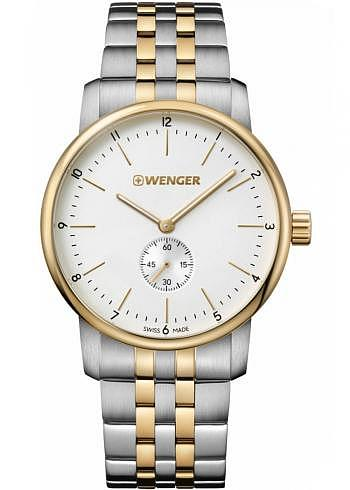 01.1741.125, Wenger, Urban Classic 42mm, PVD-Gold, White Dial, Stainless Steel Bracelet
