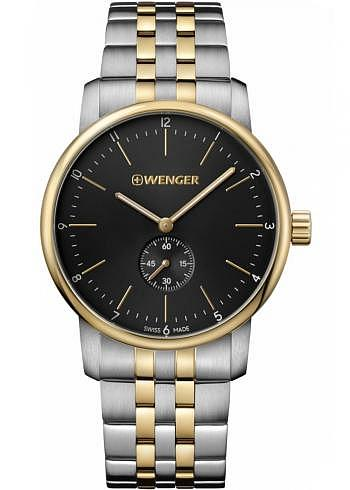 01.1741.104, Wenger, Urban Classic 42mm, PVD-Gold, Black Dial, Stainless Steel Bracelet