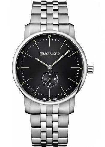 01.1741.105, Wenger, Urban Classic 42mm, Black Dial, Stainless Steel Bracelet