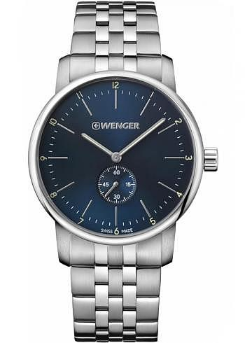 01.1741.107, Wenger, Urban Classic 42mm, Blue Dial, Stainless Steel Bracelet
