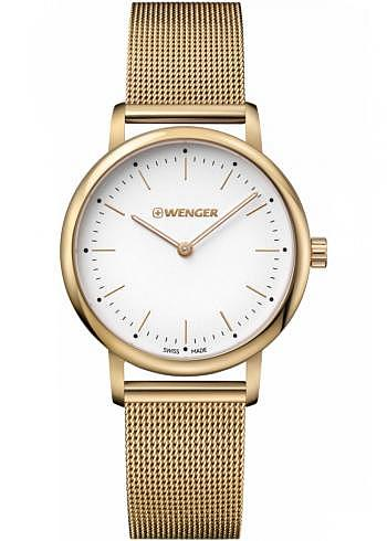 01.1721.113, Wenger, Urban Classic Lady 35mm, PVD-Gold, White Dial, Stainless Steel Bracelet