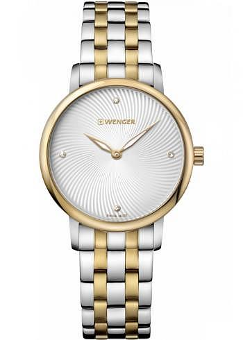 01.1721.104, Wenger, Urban Donnissima 35mm, PVD-Gold, Silverwhite Dial, Stainless Steel Bracelet