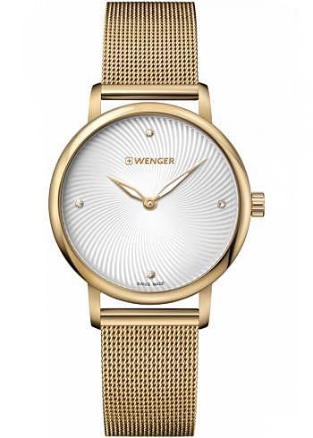 01.1721.114, Wenger, Urban Donnissima 35mm, PVD-Gold, Silverwhite Dial, Stainless Steel Bracelet