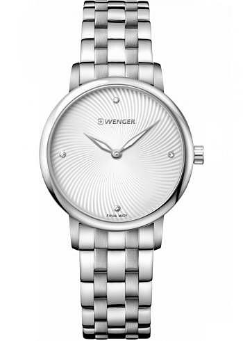 01.1721.109, Wenger, Urban Donnissima 35mm, Silverwhite Dial, Stainless Steel Bracelet