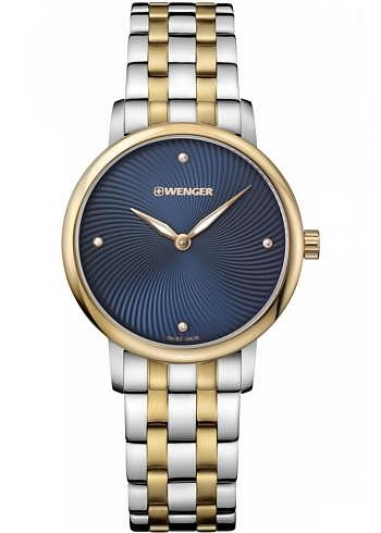 01.1721.103, Wenger, Urban Donnissima 35mm, PVD-Gold, Blue Dial, Stainless Steel Bracelet