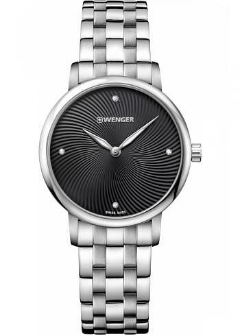 01.1721.105, Wenger, Urban Donnissima 35mm, Black Dial, Stainless Steel Bracelet