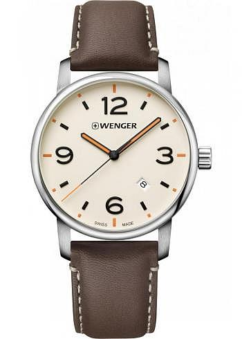 01.1741.120, Wenger, Urban Metropolitan 42mm, Creme Dial, Leather Strap