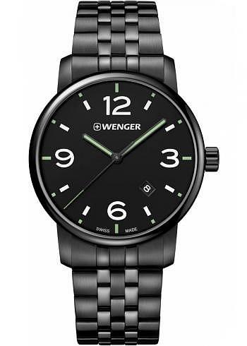 01.1741.119, Wenger, Urban Metropolitan 42mm, PVD, Black Dial, Stainless Steel Bracelet