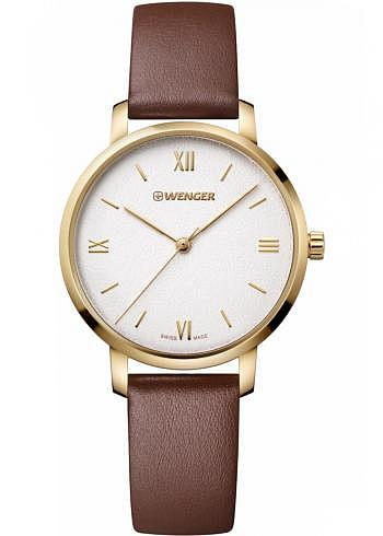 01.1731.106, Wenger, Metropolitan Donnissima 38mm, PVD-Gold, Sandwhite Dial, Leather Strap