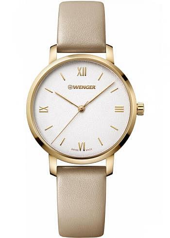 01.1731.105, Wenger, Metropolitan Donnissima 38mm, PVD-Gold, Sandwhite Dial, Leather Strap