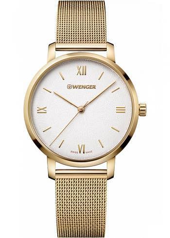 01.1731.107, Wenger, Metropolitan Donnissima 38mm, PVD-Gold, Sandwhite Dial, Stainless Steel Bracelet