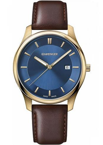 01.1441.119, Wenger, City Classic 43mm, PVD Rosegold, Blue Dial, Leather Strap brown