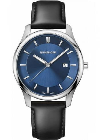 01.1441.118, Wenger, City Classic 43mm, Blue Dial, Leather Strap black