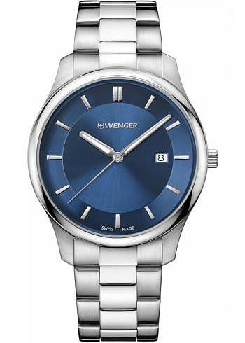 01.1441.117, Wenger, City Classic 43mm, Blue Dial, Stainless Steel Bracelet