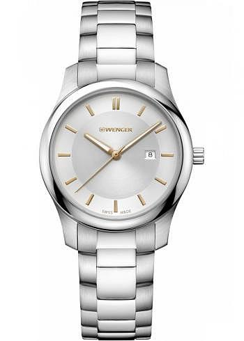 01.1421.105, Wenger, City Classic 34mm, Ladies Size, Silver Dial, Stainless Steel Bracelet