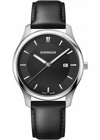 01.1441.101, Wenger, City Classic 43mm, Black Dial, Leather Strap black