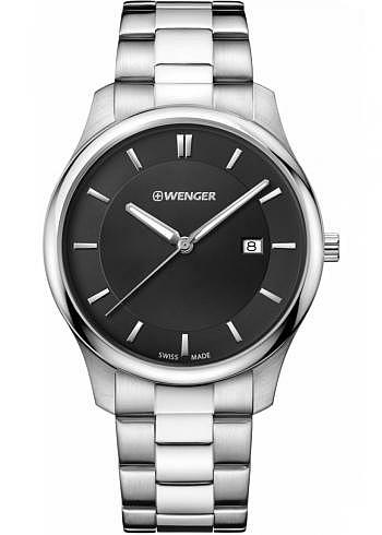 01.1441.104, Wenger, City Classic 43mm, Black Dial, Stainless Steel Bracelet