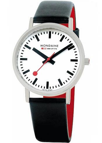 A660.30314.16SBB, Mondaine, Classic 36mm, White Dial, Black Leather Strap