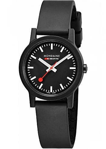 MS1.32120.RB, Mondaine, Classic Essence 32mm (eco-friendly), Black Dial, Natural Rubber Strap