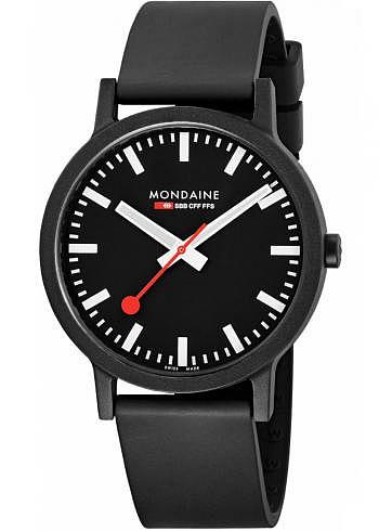 MS1.41120.RB, Mondaine, Classic Essence 41mm (eco-friendly), Black Dial, Natural Rubber Strap