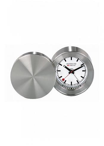 MSM.64410, Mondaine, Alarm Clock 50mm, White Dial, Stainless Steel Housing