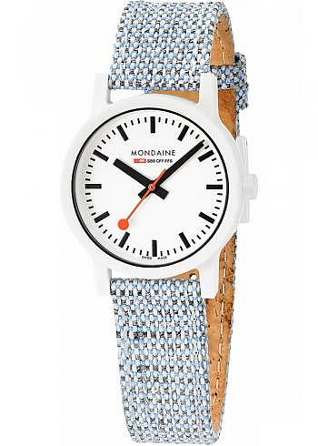 MS1.32110.LD, Mondaine, Classic Essence White 32mm (eco-friendly), White Dial, Textile Strap with Cork