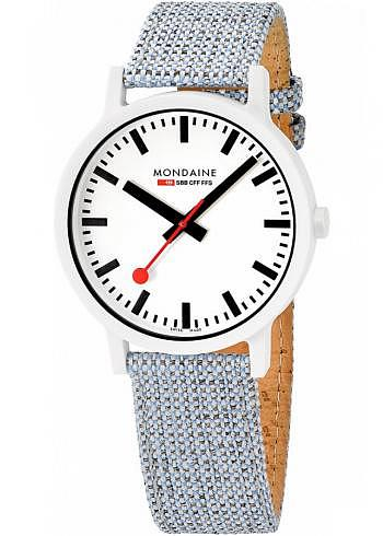 MS1.41110.LD, Mondaine, Classic Essence White 41mm (eco-friendly), White Dial, Textile Strap with Cork