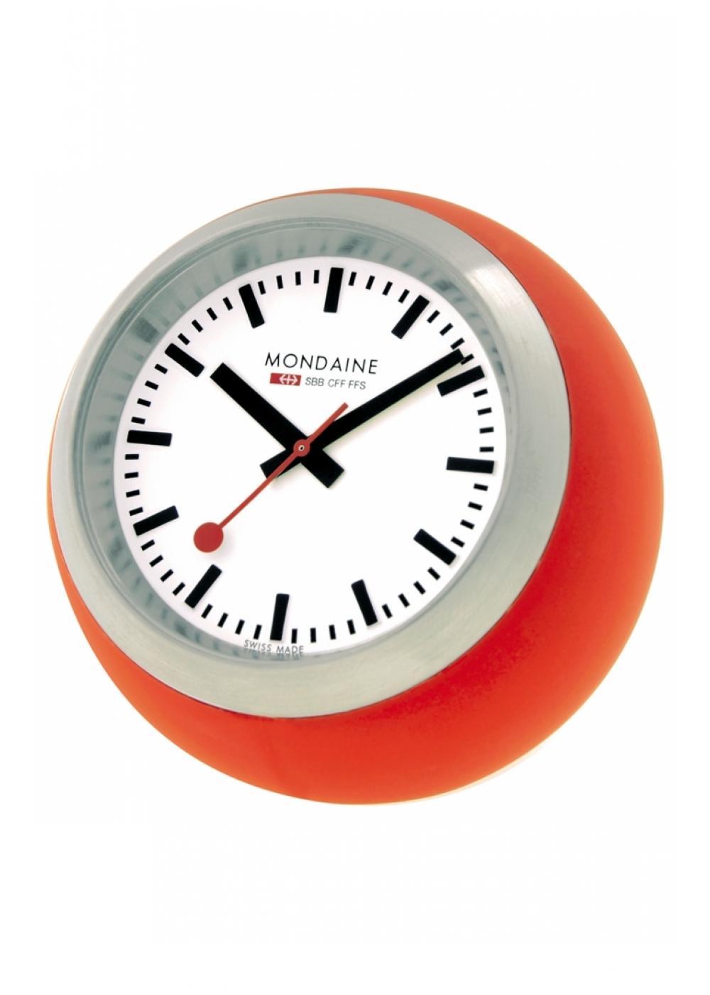 Mondaine desktop clock globe 60mm white dial orange alarm desktop and - Mondaine travel clock ...