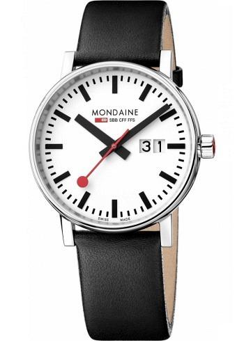 MSE.40210.LB, Mondaine, EVO2 Big 40mm, White Dial, Black Leather Strap