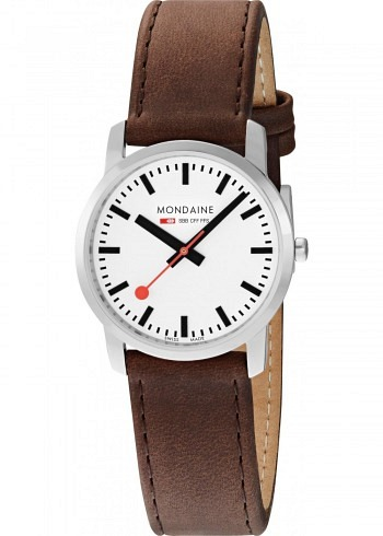 A400.30351.11SBG, Mondaine, Simply Elegant 36mm, White Dial, Brown Leather Strap