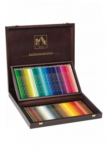 "3888.480, Caran d'Ache, 80 water soluble pencils ""Supracolor"", wood box"