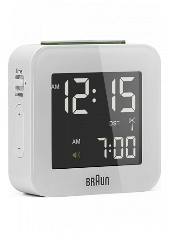 BNC008, Braun, Digital Alarm Clock with Radio Control, White