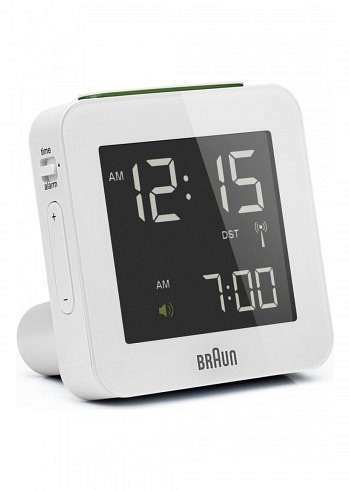 BNC009, Braun, Digital Alarm Clock with Radio Control, White