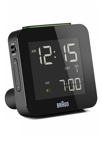 BNC009, Braun, Digital Alarm Clock with Radio Control, Black