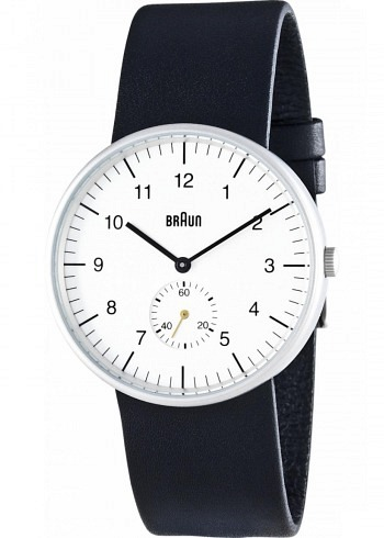 BN0024, Braun, Classic 38mm, White Dial, Leather Strap